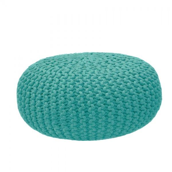 Gebreide Poef Rond XL Turquoise